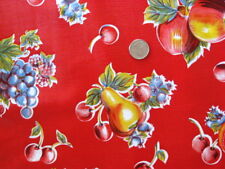 RED PEAR APPLE RETRO COUNTRY KITCHEN PATIO DINE OILCLOTH VINYL TABLECLOTH 48x108