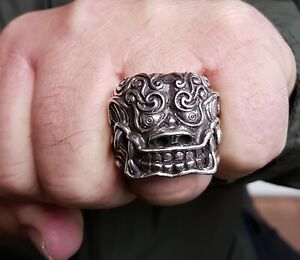 Heavy Asian Foo Dog Lion Ring - Sterling Silver-  Statement - Punk - Gohic