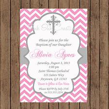 Girls Baptism Invitation / Chevron Baptism Invitation / Any Color / Printable