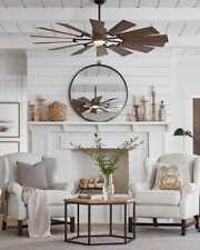 "Monte Carlo Prairie Windmill 62"" Ceiling Fan 14Prr62Agpd Led light Farmhouse"