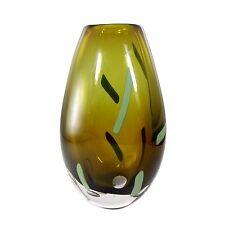 Große schwere Graal Glasvase mit Luftblasen und Farbstäben