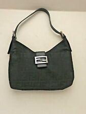 ceaf80dd8ef1 FENDI Black Zucca FF Monogram Nylon Leather Shoulder Bag Women's FF Flap  Dustbag