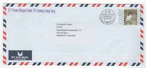 2008 HONG KONG Air Mail Part Cover KOWLOON to BONN GERMANY Birds