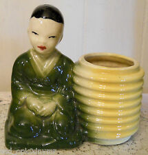Chinese Boy & Yellow Basket Planter Collectible Asian Youth Green Robe VTG