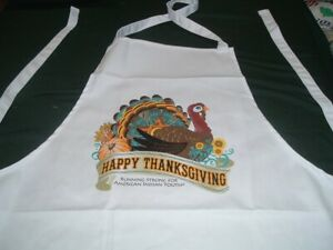 Vtg Happy Autumn Thanksgiving Turkey Bib Cotton Apron American Indian Youth #lk5
