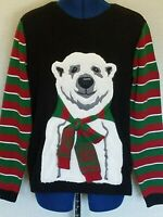 Ugly Christmas Sweater Womens Sz XL Polar Bear With Scarf Black Green Red Stripe