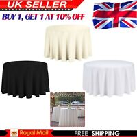 Round Table Cloth Tableware Polyester Wedding Party Plain Tablecloths Covers