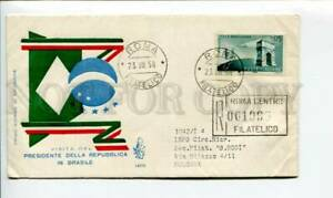 290259 ITALY 1958 year BRAZIL president visit registered ROMA First day COVER