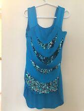 Dans I Girls Medium Child Dance Costume Teal Blue Sequins Top