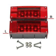 2 Rectangle LED Submersible Low Profile Light Kit Trailer Stop Brake Boat Marine