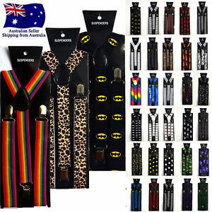 Fashion Print Pattern Suspenders Clip On Men's Women's Unisex Adjustable Braces