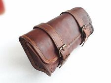 Vintage Motorcycle Pannier Saddle Pouch Leather Luggage Roll Tool Bag Brown