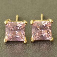 Womens Vintage  white Gold Plated Pink CZ Square lucky small Ear Stud Earrings