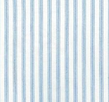 Yarn Dyes: White with Sky Blue Stripes Cotton Fabric 110cm Wide (per metre)