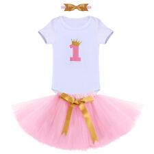 Baby Erster Geburtstag Party Kleidung Krone 1. Strampler Tutu Rock Stirnband Set