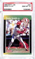 1989 Donruss Baseball Card_#63 Ozzie Smith_PSA 10 GEM MINT_HOF_Cardinals_Wizard