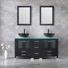 "60"" Double Bathroom Cabinet Vanity Wood w/Mirror Faucet Set Hardwares Included"
