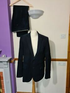 Austin Reed navy corduroy suit Jacket  44L Trousers  W 34 L 31.5  in nice condit
