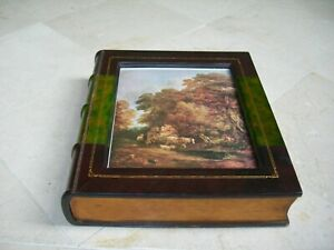 Maitland Smith Gold Tooled Brown & Green Leather Faux Book Storage Frame Box