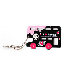 Creative Silicone Cartoon Bus ID Card Holder Card Case Badge Key Chain Ring