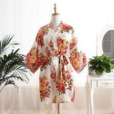 New Short Wedding Bride Bridesmaid Silk stain Robe Women Floral Bathrobe Kimono