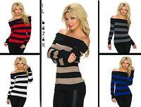 maglione donna righe scollatura barca spalle nude 5 colori taglia unica