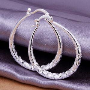 Fashion Women's Jewelry 925 Silver Oval Hoop Dangle Stud Earrings Party Gift