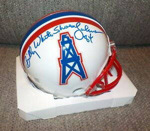 Billy White Shoes Johnson Signed Autographed Mini Helmet Houston Oilers Tristar