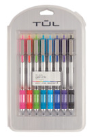 NEW TUL Retractable Gel Pens, Needle Point 0.7 mm, Silver Barrel 8 Assorted Inks