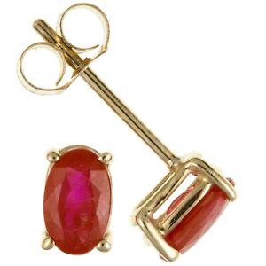 9ct Gold & Ruby July Birthstone Oval Stud Earrings Jewellery