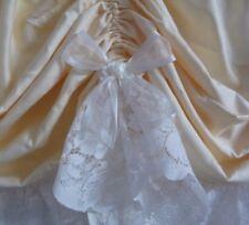1.35m x 50cm drop Austrian Curtain Lemon Yellow Valance Cream Lace Organza Bows