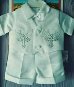"""New Gift Baby Boy Cross Tuxedo Suits Baptism/Christening White Set  XS""""  and S"""""""