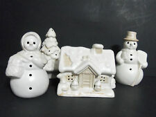 Christmas Village Luminary White Ceramic 4 Piece Set Votive Tea Light Candles
