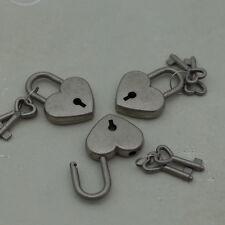 (3 pcs) Mini Padlock Heart Shaped Small Padlock with Keys (Antique Silver Color)