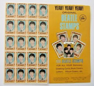 1964 Original  BEATLE STAMPS. 5 x perfect Complete sheets==100 stamps