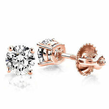 9mm Round Cut Solitaire Earrings Simulated Diamond 14k Rose Gold ScrewBack