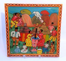 Vintage FOLK ART Zimbabwe African Village ORIGINAL Painting on Board Framed