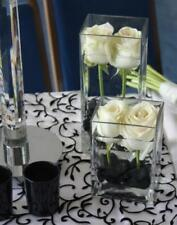 "Clear Glass Square Cubic Vase H-8"" Open-4"" Wedding Floral Candle Decor - 12pcs"