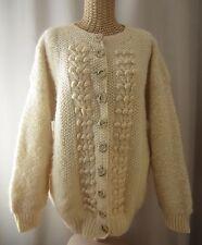 Astrakhan Sweater XL X-Large 100% Wool Cream LS Cardigan Sweatercoat Hand Knit