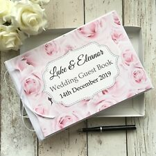 PERSONALISED WEDDING GUEST BOOK ~  VINTAGE ROSES PINK RUSTIC ROSE SHABBY CHIC