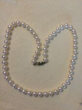 """Vintage Mikimoto Akoya Pearl Necklace 19"""" 7-7.5 mm Silver"""