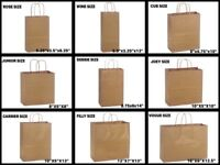 Natural Kraft Shopping Gift Bags 60# paper weight Choose Size & Package Amount