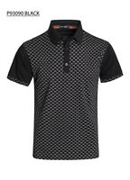 New Mens Short Sleeve Polo Shirt Slim Fit Stretch Black White CD Print Cotton
