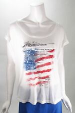 William Rast Flag Screen Printed Rolled Sleeve Top Sz L NWT MSRP $62