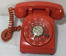 1970 Vintage Orange Rotary Dial Phone Telephone