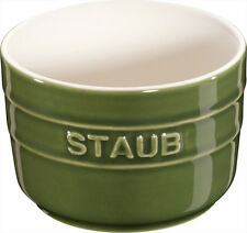 Staub Ceramic Set of 6 XS Mini Mold Ramekin Dessert Dish Round Basil Green