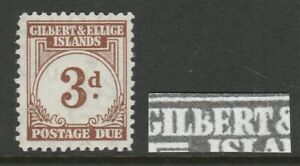 Gilbert & Ellice 1940 3d Brown with Lower case 'b' SG D3a Mint.