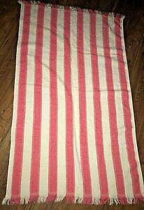 Hand / Hair Towel Vtg 60s Camtex Cotton Terry Stripe Hot Pink White MINT