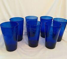 Vintage Set of 7 Cobalt Blue Glass Flare Tumblers ETCHED DESIGN Drinking Glasses
