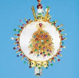 Mary Maxim Golden Holiday Tree Beaded Sequin Collectors Ornament Kit - NEW